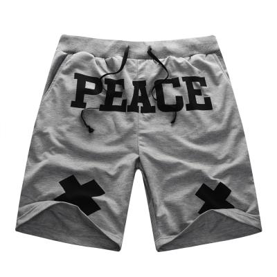 韓式作風-PEACE字母印花抽繩棉質短褲-共二色
