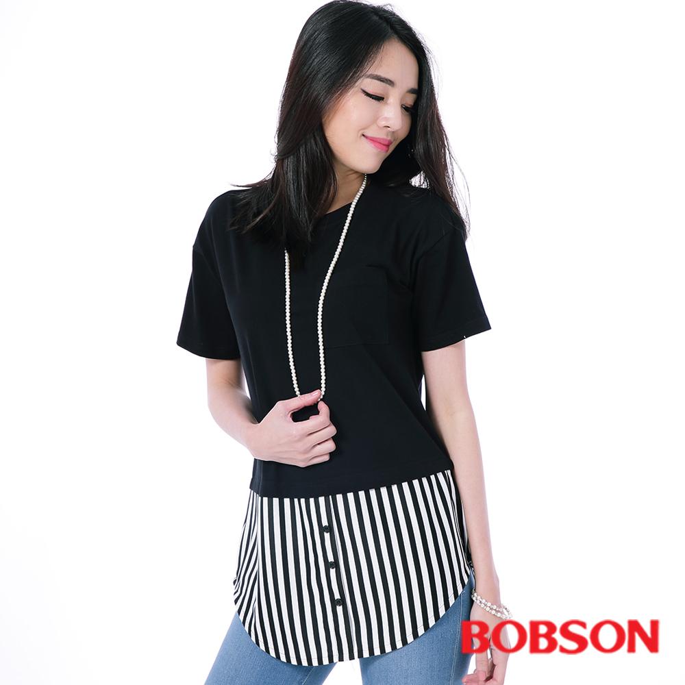 BOBSON  女款仿兩件式上衣-黑色