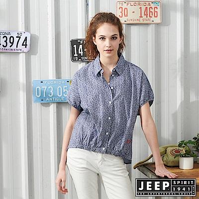 JEEP 女裝 復古滿版藤蔓花紋連袖短襯衫-藍色
