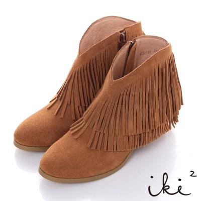 iki2波西米亞嘉年華-麂皮流蘇時尚短靴-香檳