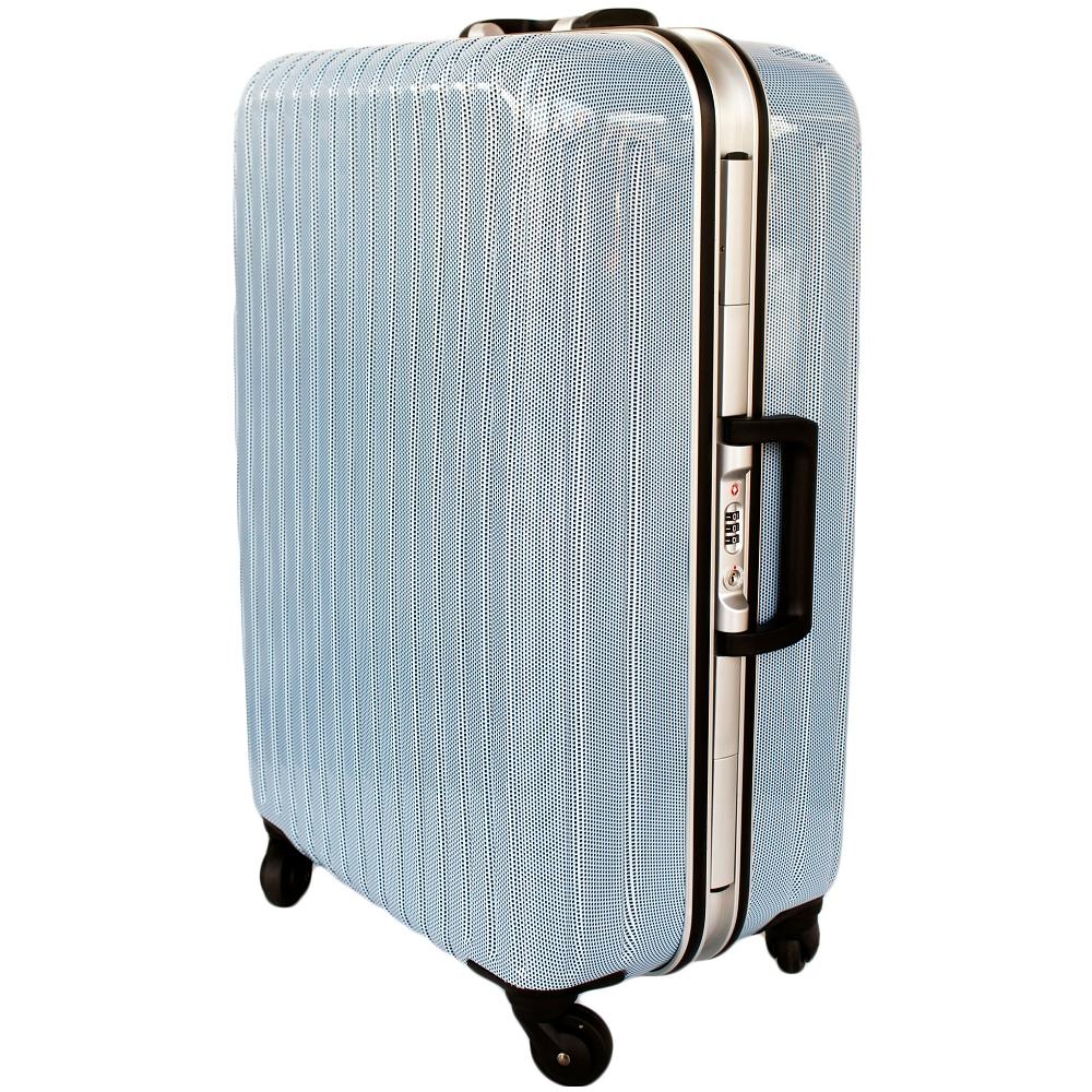YC Eason 名將系列璀璨鏡面鋁框28吋PC海關鎖行李箱 格子藍