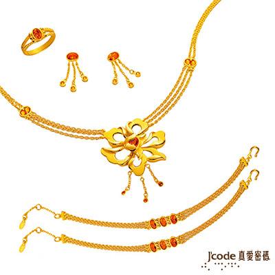 J'code真愛密碼 富貴牡丹純金套鍊 約12.8錢