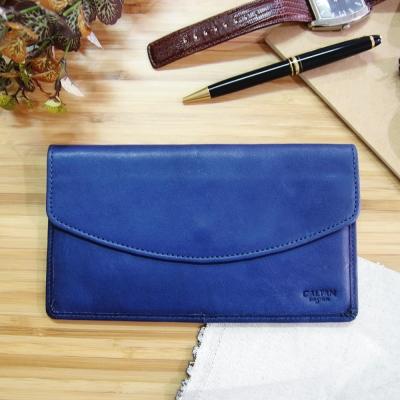 CALTAN-女用真皮 牛皮 長夾 零錢包 鈔票夾 皮夾 小物 皮包-2118藍