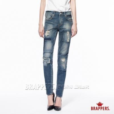 BRAPPERS 女款 BoyFriendJeans系列-女用中低腰彈性AB褲-深藍