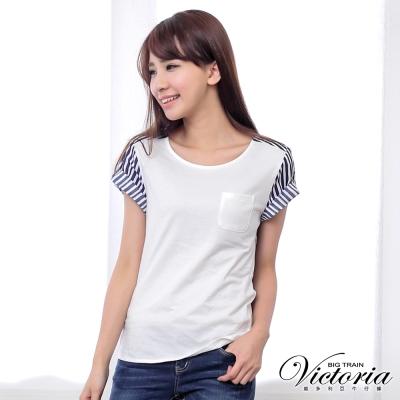 Victoria 口袋直條剪接短袖T-女-藍白條