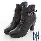 DN 自然主義 質感素面釦帶粗跟短靴 黑