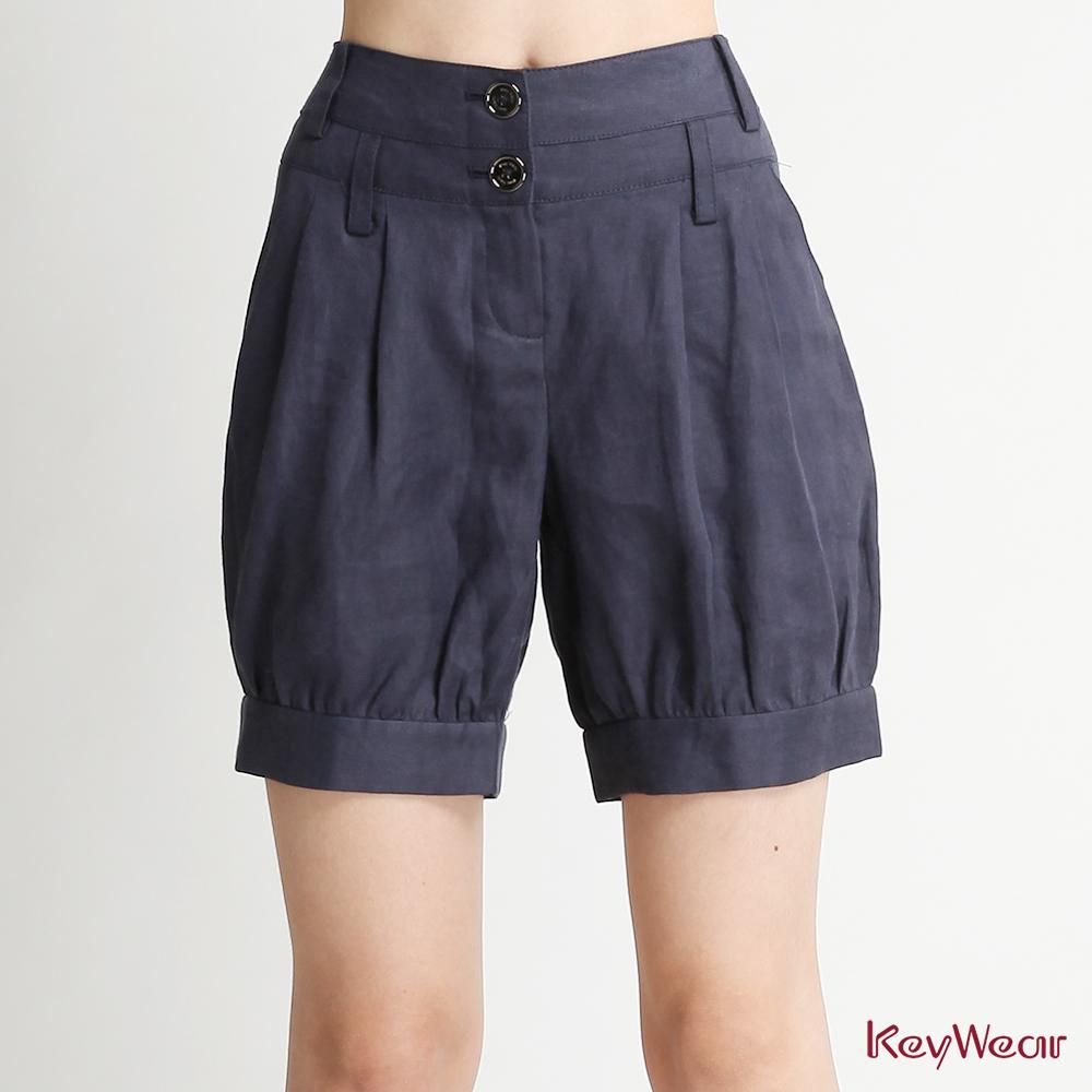 KeyWear奇威名品    網路獨家★修身首選必buy短褲-深藍色