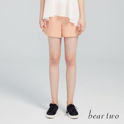 beartwo 高雅打褶 弧形褲口剪裁短褲 粉橘 ~動態show