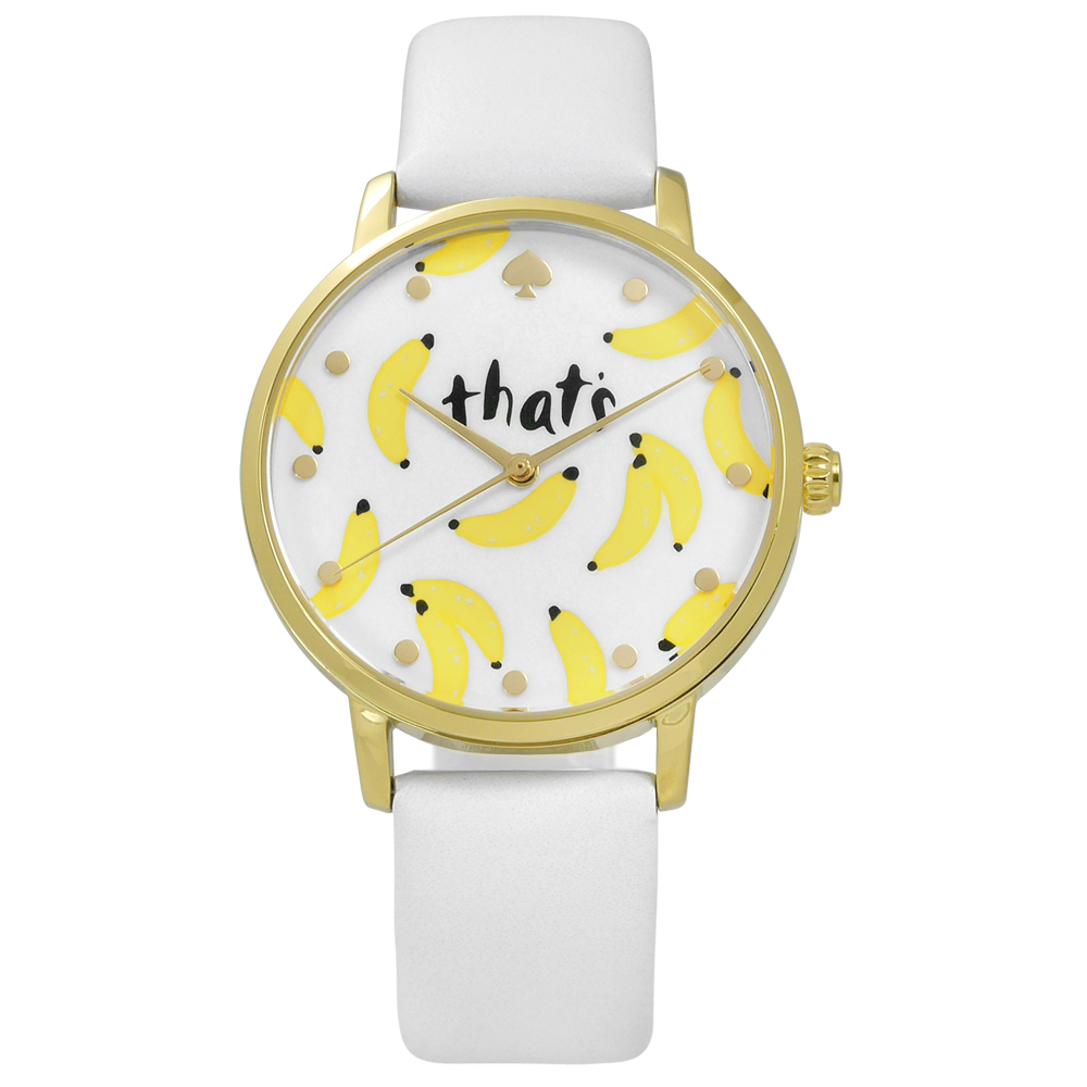 kate spade 創意隨興手繪塗鴉香蕉真皮手錶-白x金框/34mm