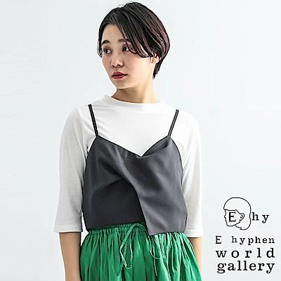 E hyphen 【SET ITEM】基本款五分袖上衣+剪裁吊帶背心