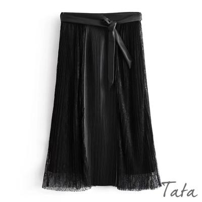 蕾絲拼接合成皮裙(配腰帶) TATA
