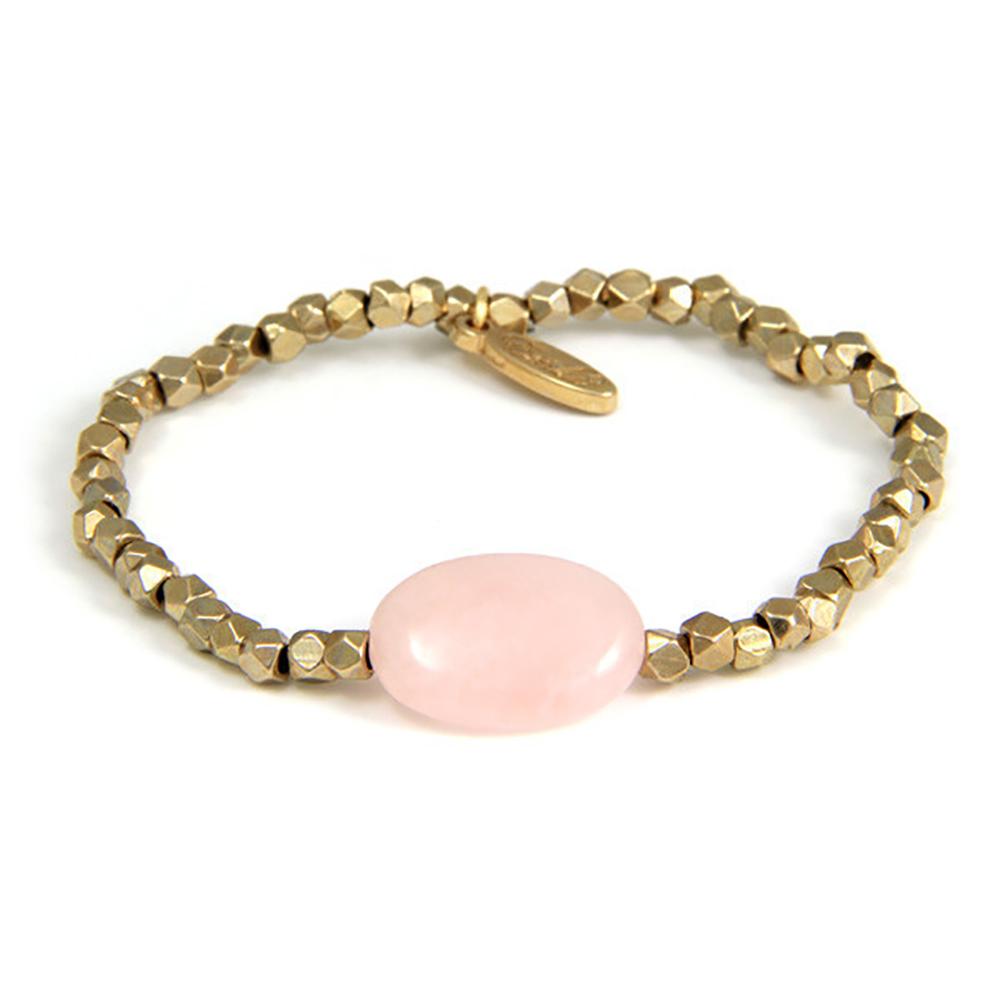 Ettika 美國品牌 橢圓粉紅水晶 金塊幸運手鍊 伸縮可調式