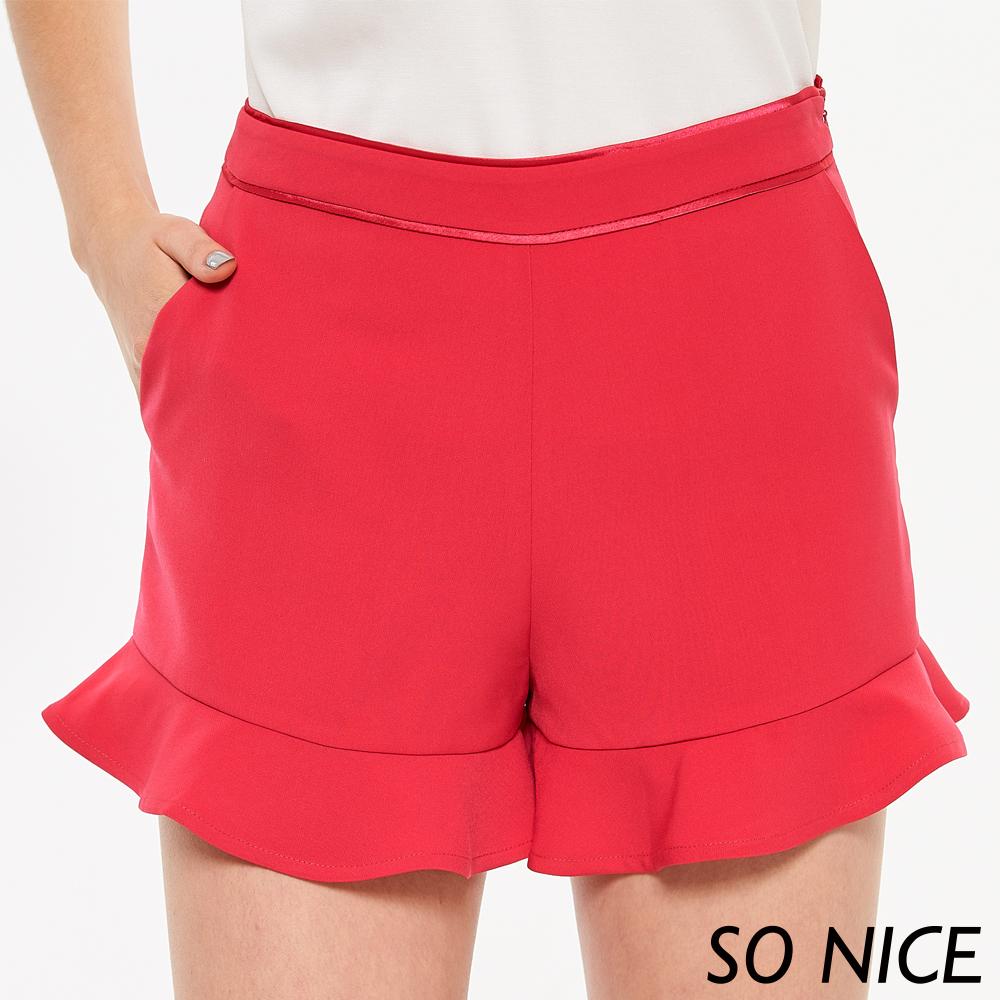 SO NICE俏麗荷葉裝飾短褲