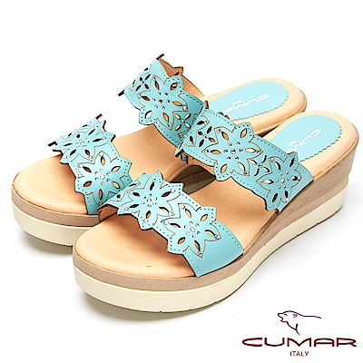 CUMAR舒適底台-簍空設計真皮厚台涼鞋-水藍