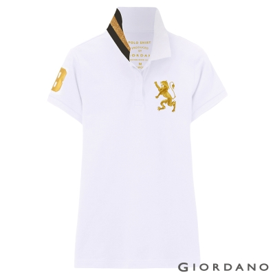 GIORDANO-女裝獅王3D刺繡彈性POLO衫-04-標誌白