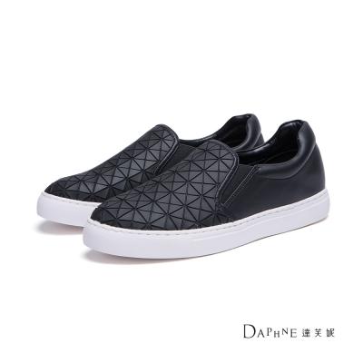 達芙妮DAPHNE-懶人鞋-幾何方格休閒鞋-黑
