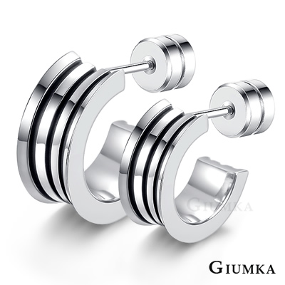 GIUMKA 簡約線條 珠寶白鋼情侶耳環 銀色 單邊單個