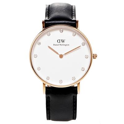 DW Daniel Wellington 玫瑰金水鑽女性手錶-白面/34mm