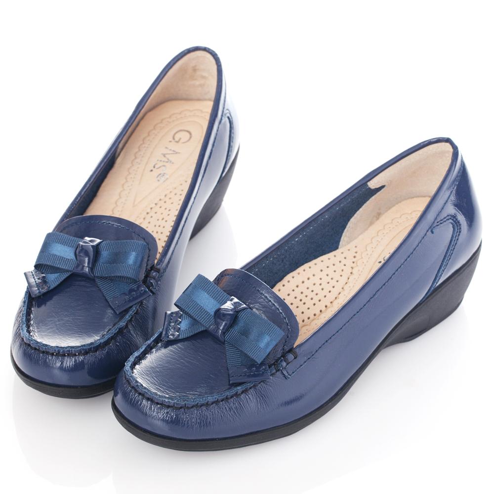 G.Ms. MIT系列-牛漆皮蝴蝶結莫卡辛楔型跟鞋-優雅藍