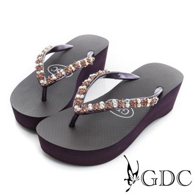 GDC-水鑽楔型厚底夾腳人字拖鞋-紫芋色