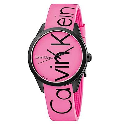 CK CALVIN KLEIN Color 炫彩系列螢光粉品牌字樣手錶-40mm