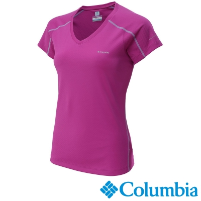 【Columbia哥倫比亞】女-酷涼快排防曬30短袖上衣-桃紅 UAR69140FC