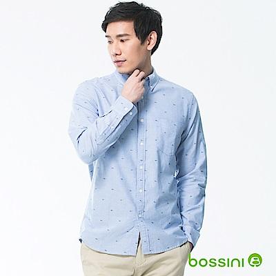 bossini男裝-印花長袖襯衫01藍