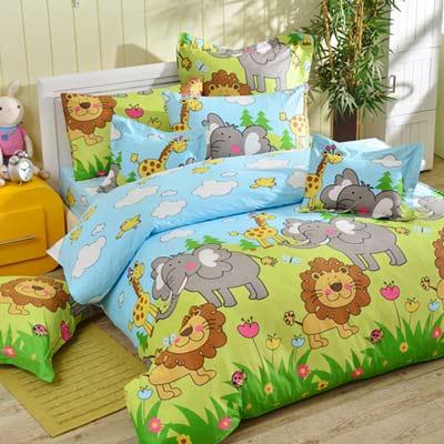 義大利Fancy Belle 悠遊大草原 雙人四件式防蹣抗菌兩用被床包組