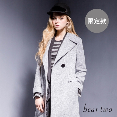 beartwo-俐落翻領雙扣混織長版大衣-二色