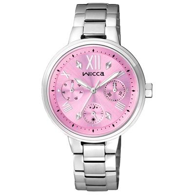 WICCA 傾訴愛戀氣氛全日曆腕錶(BH7-512-91)-粉紅/34mm
