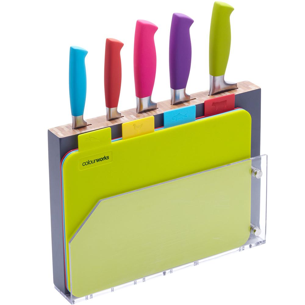 KitchenCraft 分類砧板+刀座刀具組