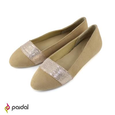 Paida氣質緞帶百搭尖頭包鞋尖頭鞋-氣質粉膚