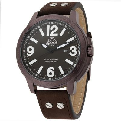 Kappa 牛仔率性經典時尚腕錶-咖啡/48mm