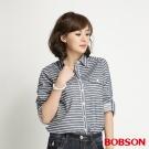 BOBSON 女款條紋長袖襯衫(藍條53)