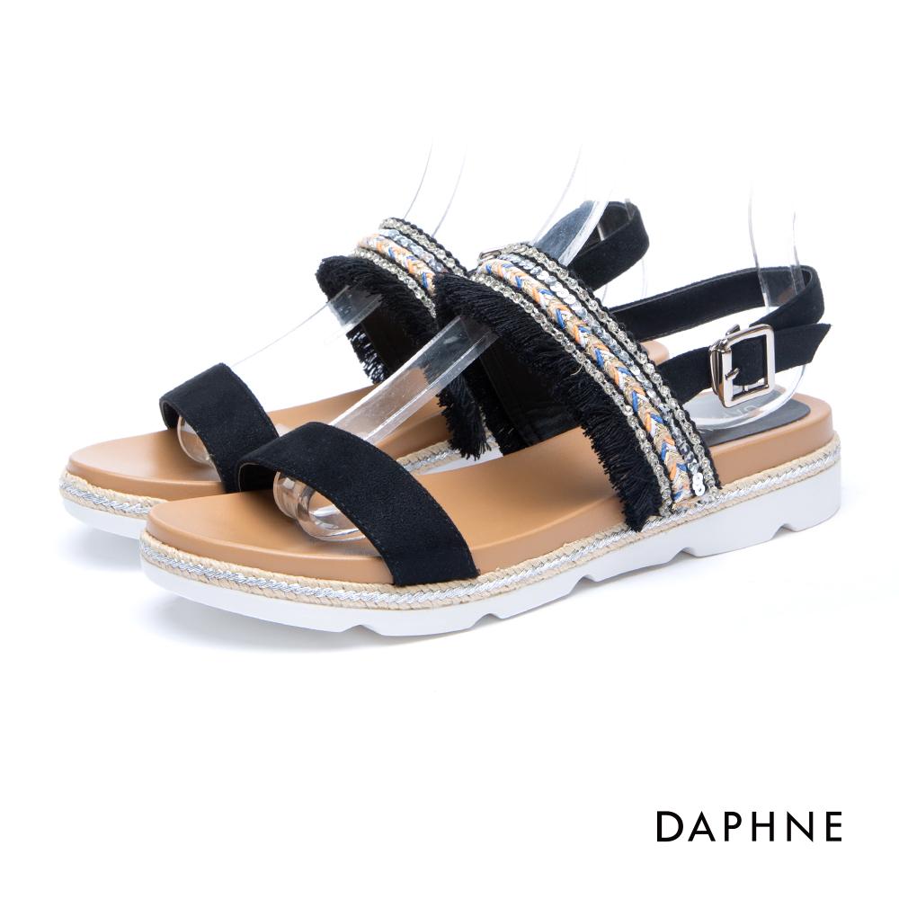 達芙妮DAPHNE 涼鞋-一字流蘇編織厚底釦踝涼鞋-黑
