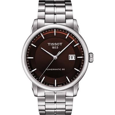 TISSOT LUXURY 動力儲存80機械腕錶-咖啡/41mm