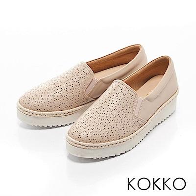 KOKKO -繽紛年華雕花麻繩真皮休閒鞋-夢幻粉