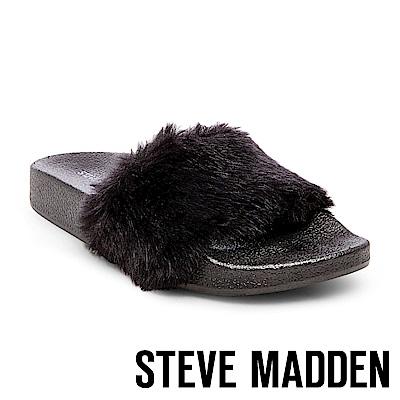 STEVE MADDEN-SOFTEY 毛絨一字拖-黑色