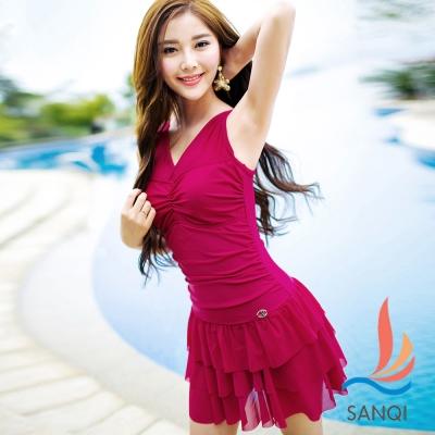 SANQI三奇 陽光元氣 二件式連身泳裝(酒紅M~XL)