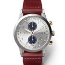 TRIWA Lansen Chrono系列 Loch雙眼計時真皮腕錶-銀x咖啡/38mm