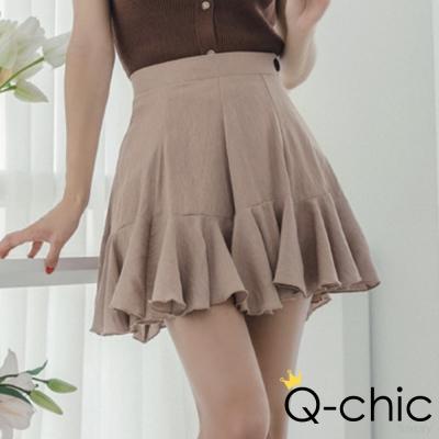 正韓 高腰立體摺線荷葉短裙 (共三色)-Q-chic