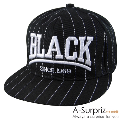 A-Surpriz BLACK字母縫線棒球帽(黑)