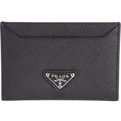 PRADA Saffiano 銀三角牌防刮牛皮萬用卡片夾(黑色)