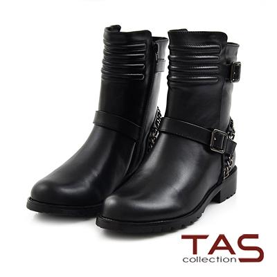 TAS-金屬鏈扣帶擦色牛皮工程靴-街頭黑