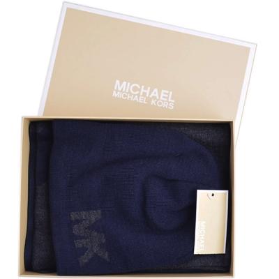 MICHAEL KORS 雙色針織圍巾/毛帽禮盒組-深藍/灰