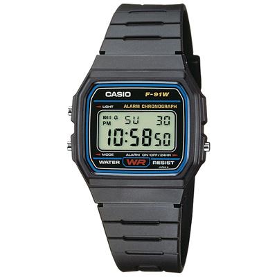 CASIO 運動小子電子錶(F-91W-1A)-黑x藍框