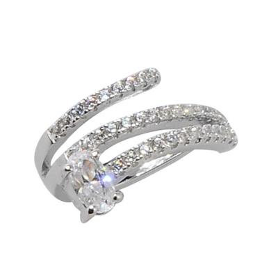 apm MONACO法國精品珠寶 閃耀銀色螺旋線條鑲鋯單邊耳骨夾耳環