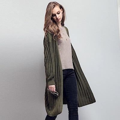 粗針織坑條寬鬆落肩長版開襟外套.3色-OB大尺碼