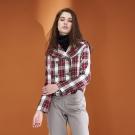 Hana+花木馬 英式學院風格紋印花翻領排扣造型外套-紅