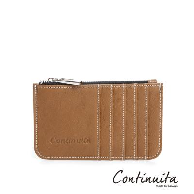 Continuita-康緹尼-MIT-頭層牛皮拉鍊卡片夾-咖啡